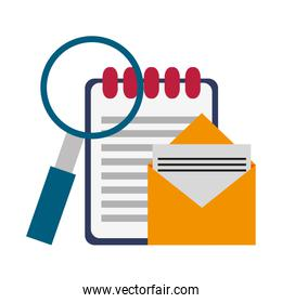 Email and clipboard with magnifying glass