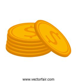 Money coins stacked