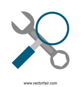 Wrench and magnifying glass symbol