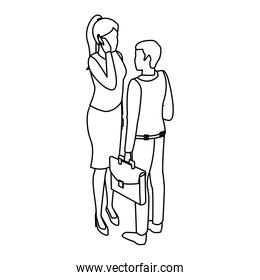 Business people isometric black and white