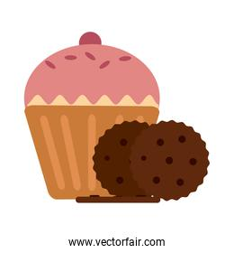 Cupcake and cookies