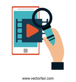 Hand with magnifying glass checking video on smartphone