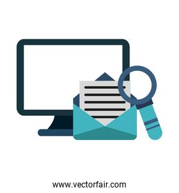 Computer and email with magnifying glass