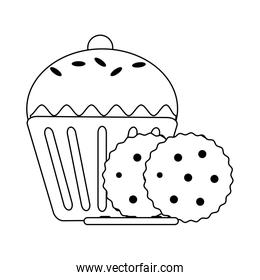 Cupcake and cookies black and white