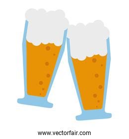 Two beer cups toast