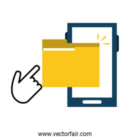 smartphone with folder and click cursor hand