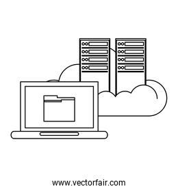 computer with cloud computing black and white
