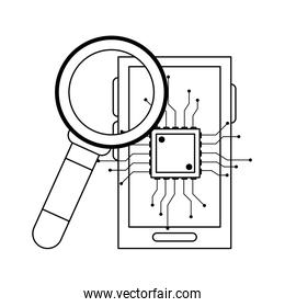 Smartphone with microchip and magnifying glass black and white