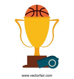 Basketball trophy and ball with whistle