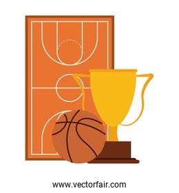 isolated basketball ball and trophy with whistle