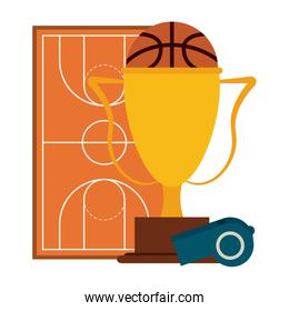 Basketball ball and trophy with whistle