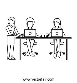 Business coworkers with laptop black and white