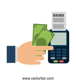 Hand using money and credit card reader