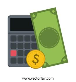 Calculator with cash and coin