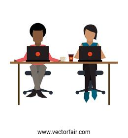 Business coworkers with laptop