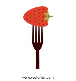 Strawberry in fork