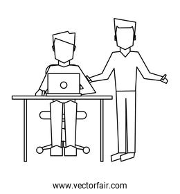 Business coworkers with laptop in black and white