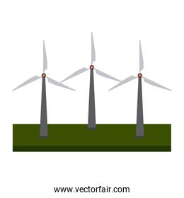 Wind turbines field green energy black and white