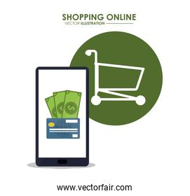 smartphone shopping online icon