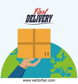 hand planet box package delivery icon