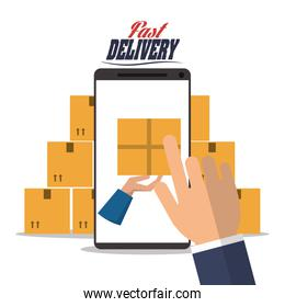 smartphone hand box package delivery