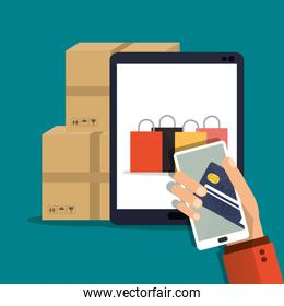 tablet smartphone shopping online icon