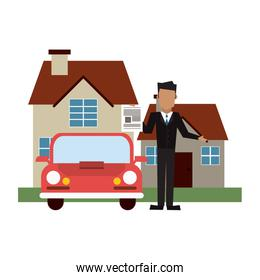Businessman with house and car
