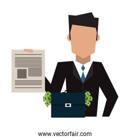 Businessman with contract and briefcase with money