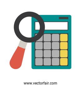 Magnifying glass and calculator