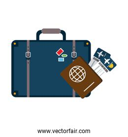 Travel suitcase with tickets and passport