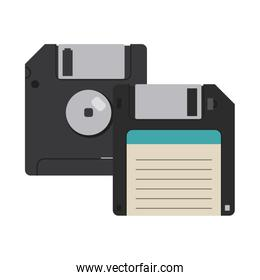 Computer diskettes isolated