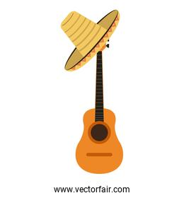 acoustic guitar and mexican hat