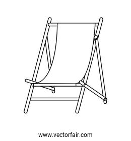 Beach sunchair isolated in black and white