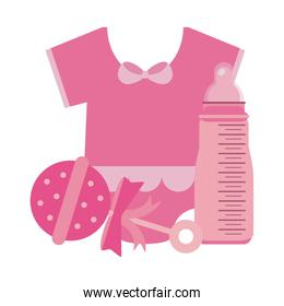 baby clothes with maraca and bottle