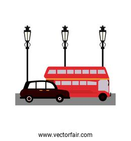 London taxi and bus on street