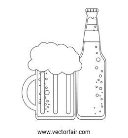 Beer bottle and cup in black and white