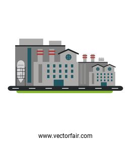 Factory industry building isolated