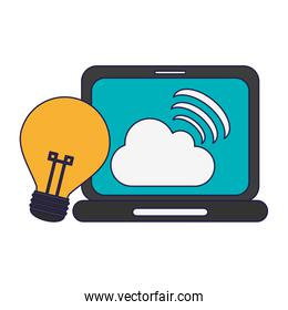laptop with cloud computing and bulb light idea
