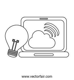 laptop with cloud computing and bulb light idea in black and white