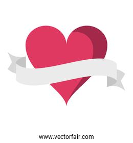 Heart with ribbon banner