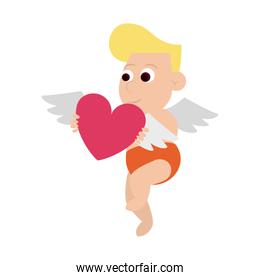 Cupid with heart flying