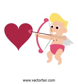 Cupid with harp and heart