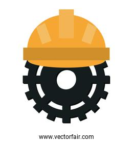 Worker helmet with gear