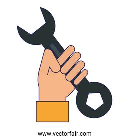 Hand holding wrench