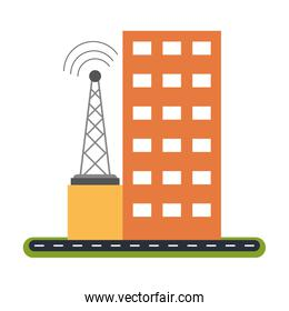 Building and telecommunication antenna