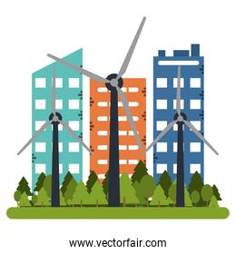 Building and wind turbines