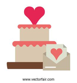Cake with heart and love letter envelope