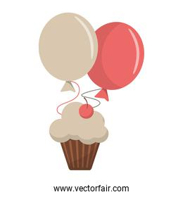 Cupcake with cherry and balloons