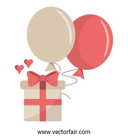 Romantic gift box with balloons