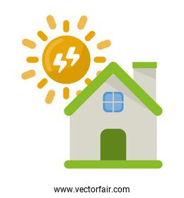 House with sun and electric energy